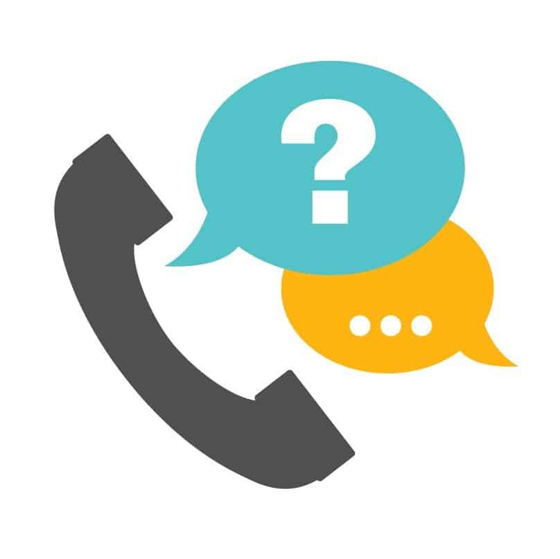 Icon of a phone with a question and answer