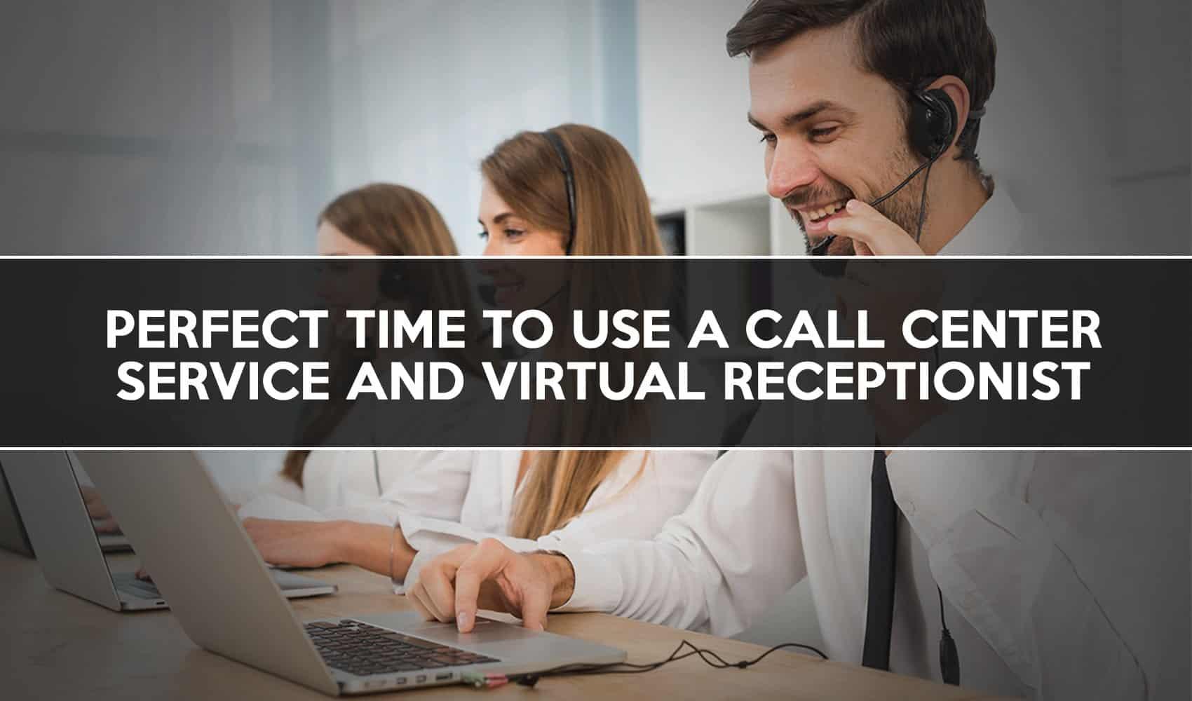Three call center employees enjoying their job taking calls